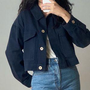 Zara cropped navy denim jacket size XS